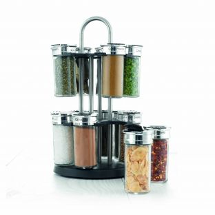 Baccarat Pivot Orbit 17 Piece Stainless Steel Spice Carousel