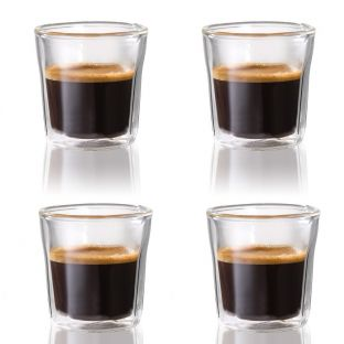 Baccarat Barista Facet 4-Piece Double Walled Espresso Glass Set 88ml
