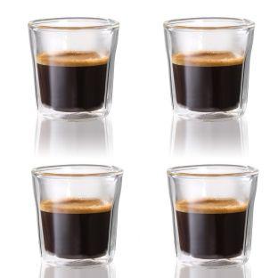 Baccarat Barista Facet 4-Piece Double Walled Espresso Glass Set 88ml