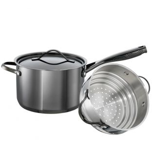 Baccarat iD3 Black Platinum Stainless Steel Saucepan & Steamer Set 20cm