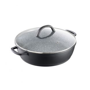 Baccarat Stone X Non Stick Cast Aluminium Saute Pan with Lid 32cm