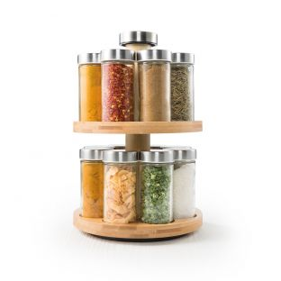 Baccarat Spice Market Essence Rotating 16 Jar Bamboo Spice Rack