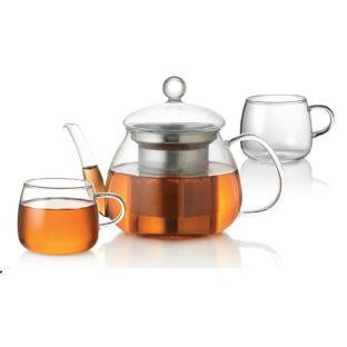 Baccarat Barista Venice Glass Teapot and Cup 3 Piece Set