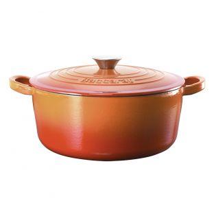 Baccarat Le Connoisseur Cast Iron Round French Oven 29cm 6.3L Orange