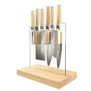 Baccarat Damashiro Emperor Hikari 7 Piece Knife Block Ash
