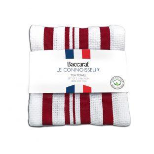 Baccarat Le Connoisseur Tea Towel Stripes Set of 2 Red