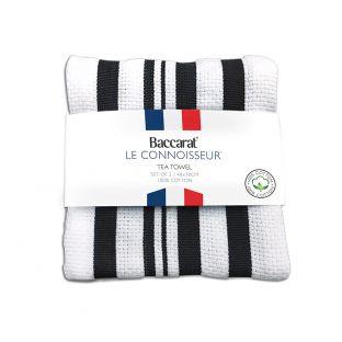 Baccarat Le Connoisseur Tea Towel Stripes Set of 2 Black