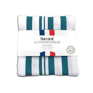 Baccarat Le Connoisseur Tea Towel Stripes Set of 2 Teal