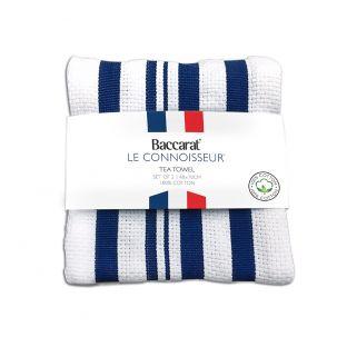 Baccarat Le Connoisseur Tea Towel Stripes Set of 2 Blue