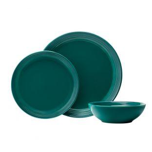 Baccarat Le Connoisseur 12 Piece Stoneware Dinner Set Teal